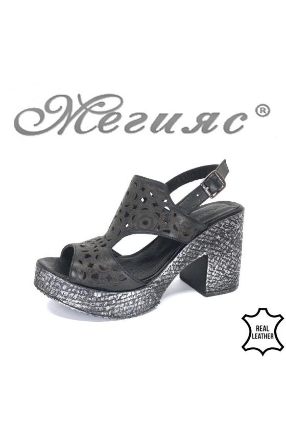 Дамски сандали 381-655 черни от естествена кожа