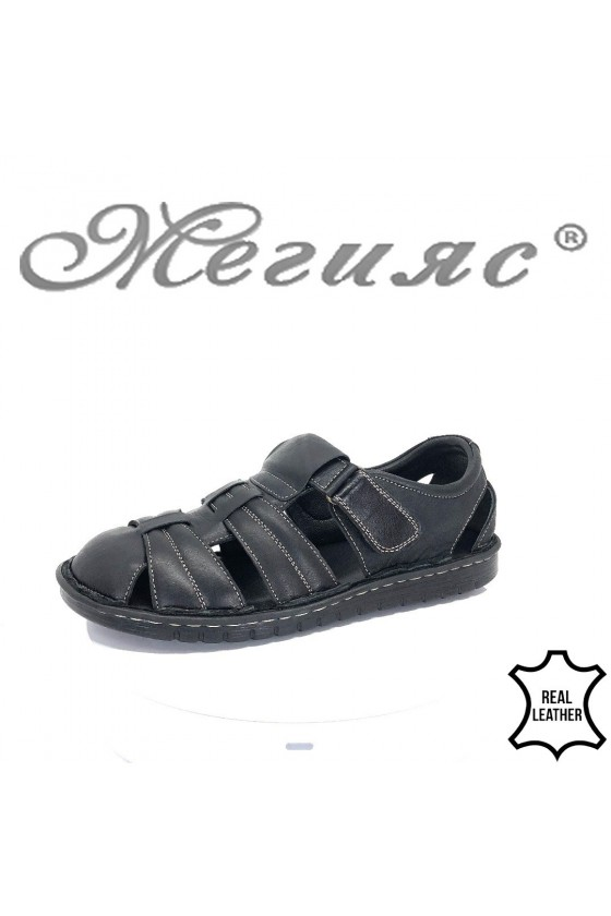 Men's sandals 202 black leather