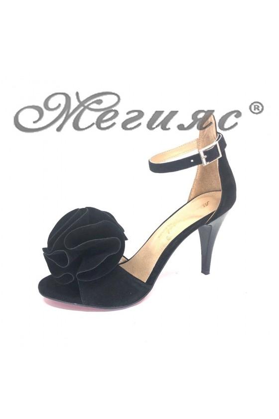 Дамски елегантни сандали 387 черни от еко велур на висок ток