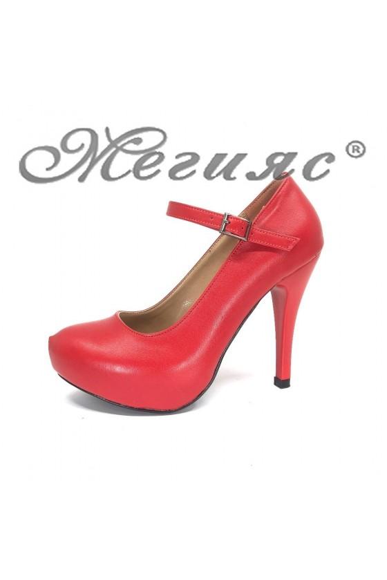Дамски обувки 520-ато мат червени еко кожа с висок ток елегантни