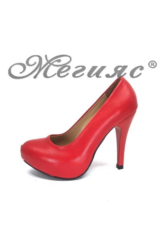 Дамски обувки 500-ато мат червени еко кожа с висок ток елегантни