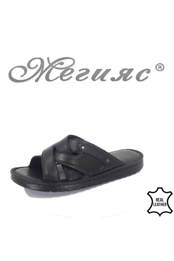 Men's sandals 214 black leather