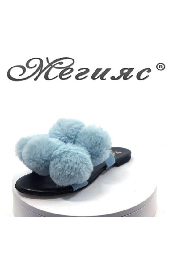 Women sandals 795 Lt.blue with fur