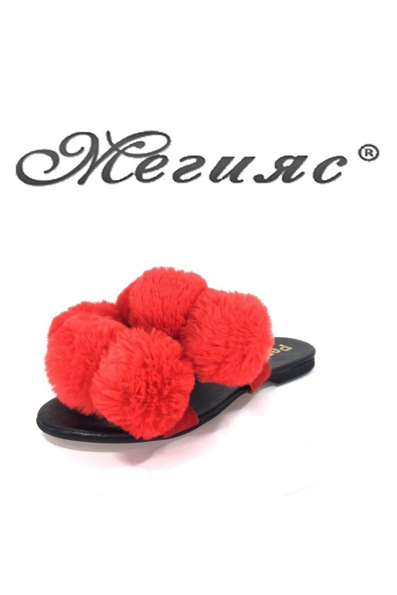 Women sandals 795 red with fur