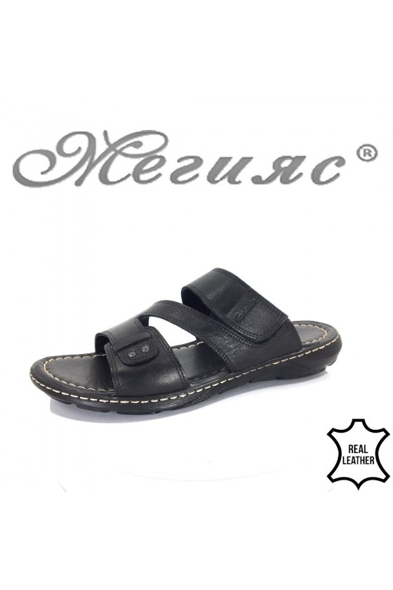 Men's sandals 304 black leather