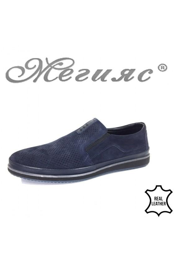 Мъжки обувки Фантазия 18401 сини от естествен набук с перфорация