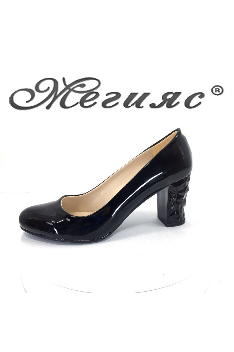 Women elegant shoes 991 black patent with middle heel