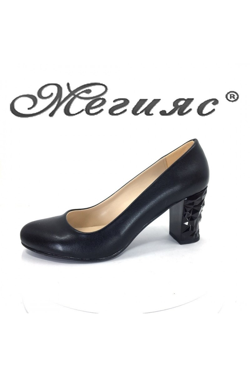 Women shoes 991 black pu with middle heel
