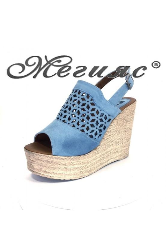 Дамски сандали Х-655 от еко велур на платформа