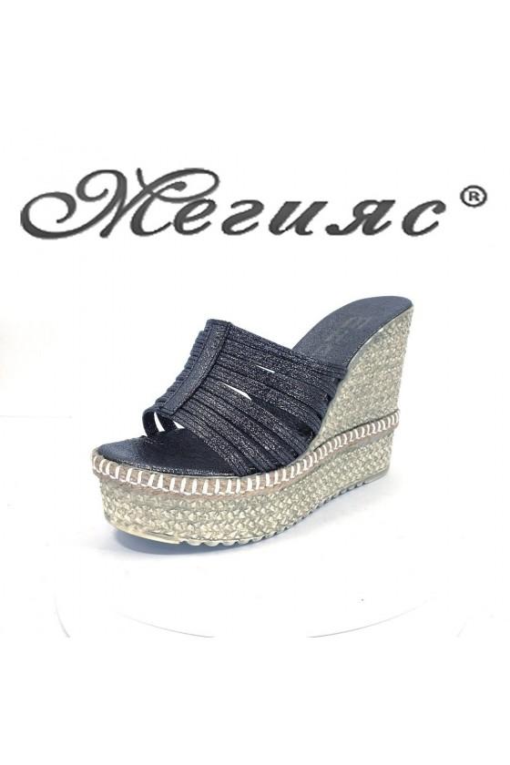 Women platform sandals 615 dk.silver pu