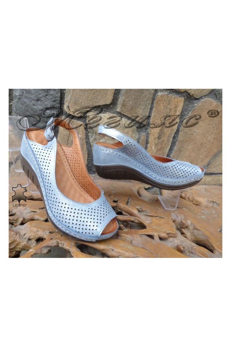 Дамски сандали 13-L сини от естествена кожа
