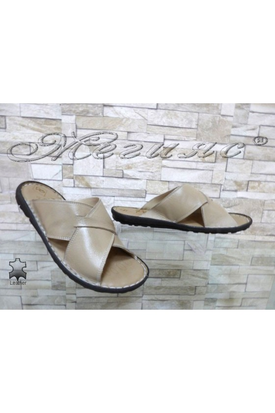 Men's sandals 035 beige leather