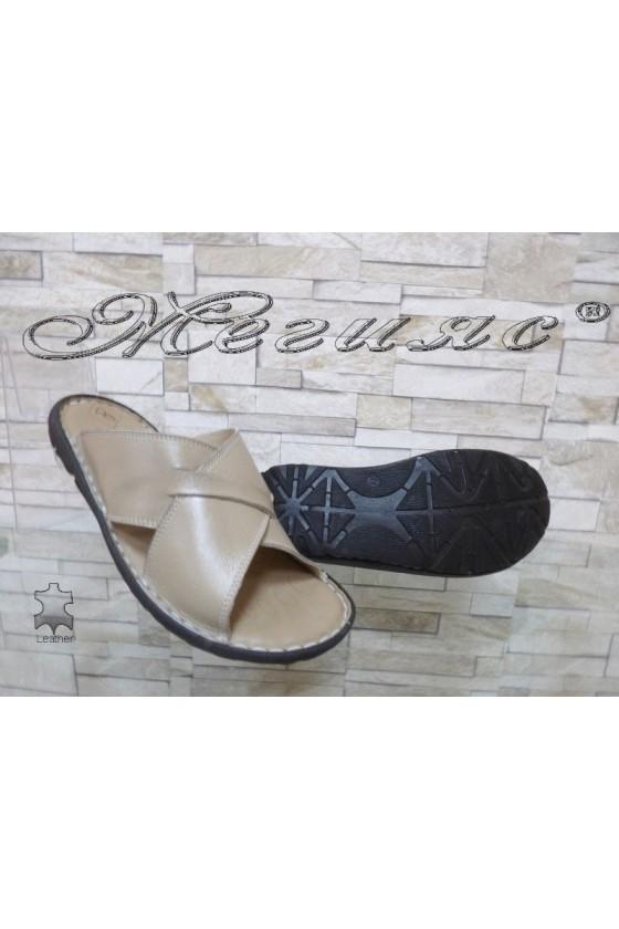 Men's sandals 035 beige leather