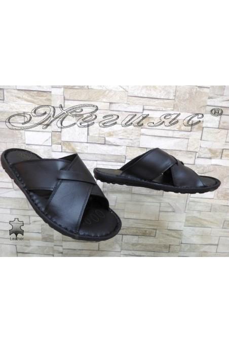 Мъжки чехли А-035 черни от естествена кожа