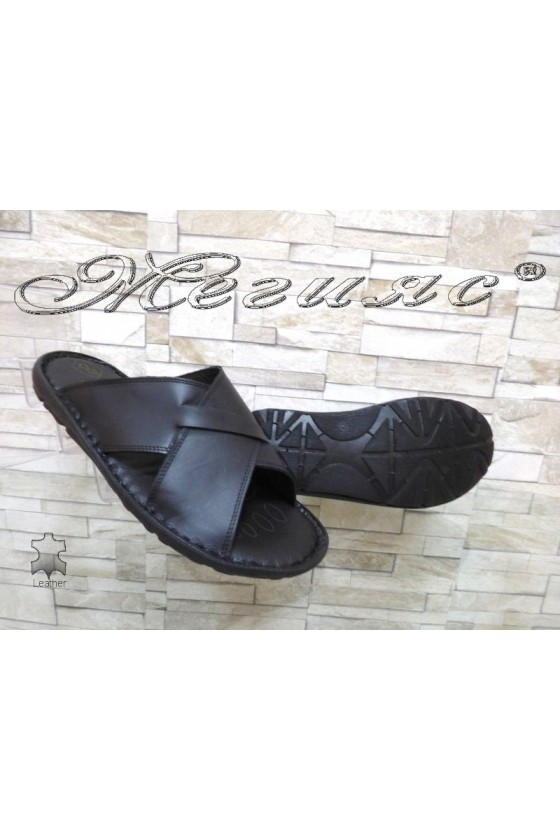 Men's sandals 035 black leather