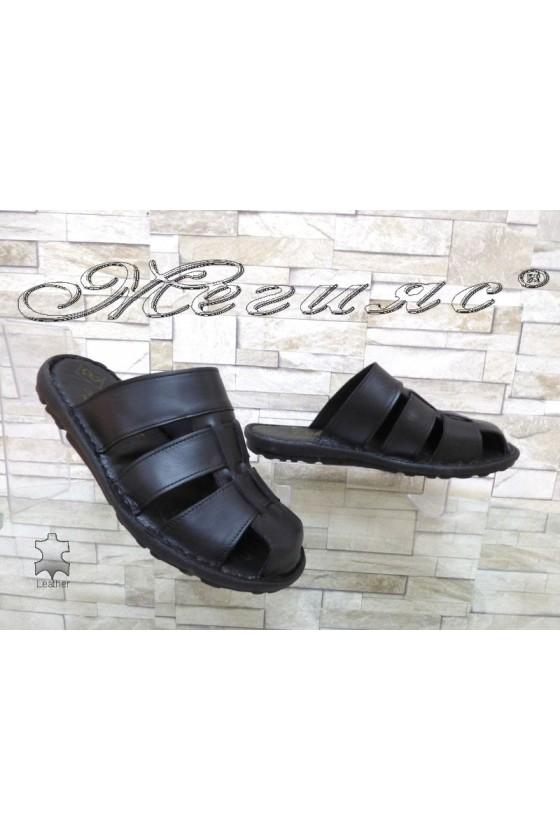 Men's sandals 080 black leather