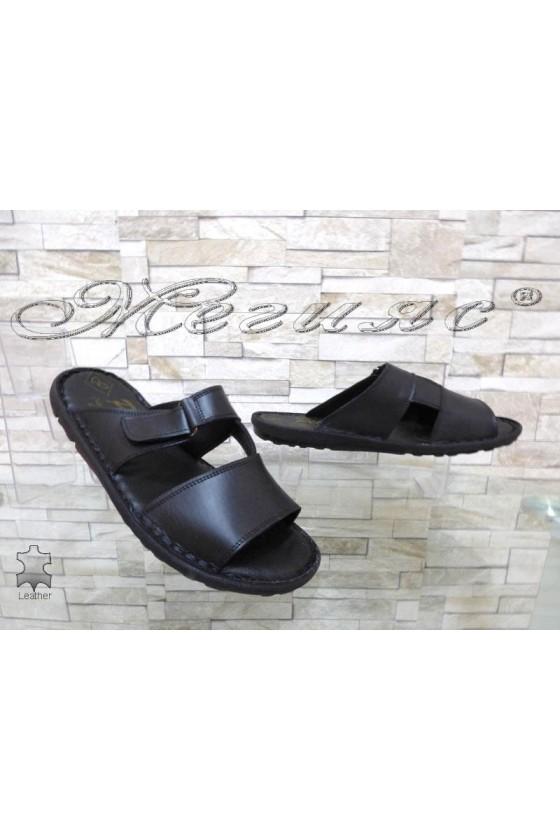 Men's sandals 040 black leather