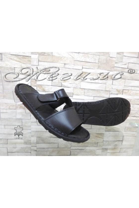 Men's sandals 040 black leather