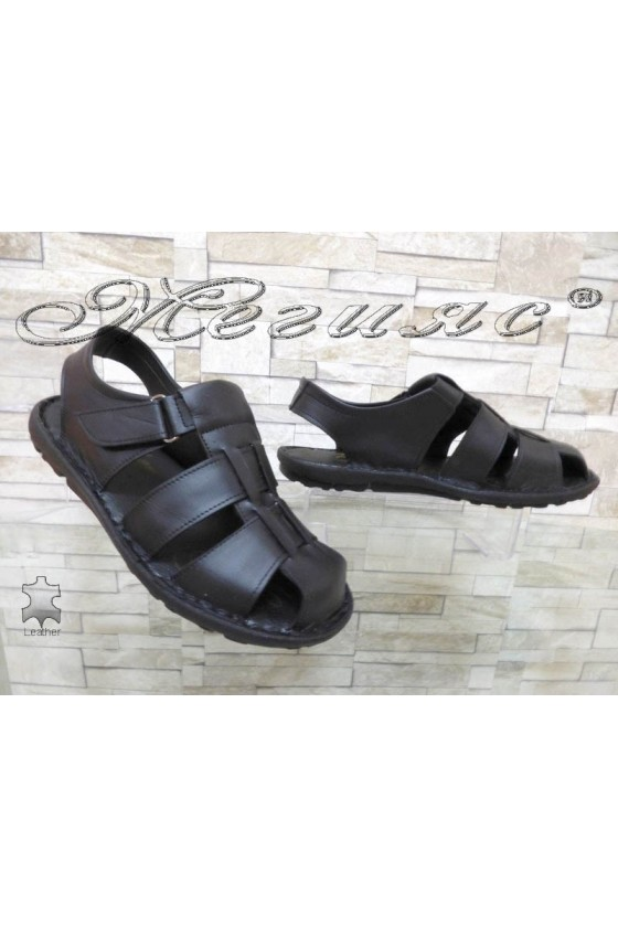 Men's sandals 030 black leather