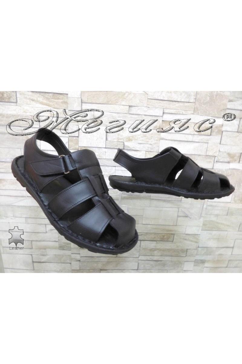 Мъжки сандали А-030 черни от естествена кожа