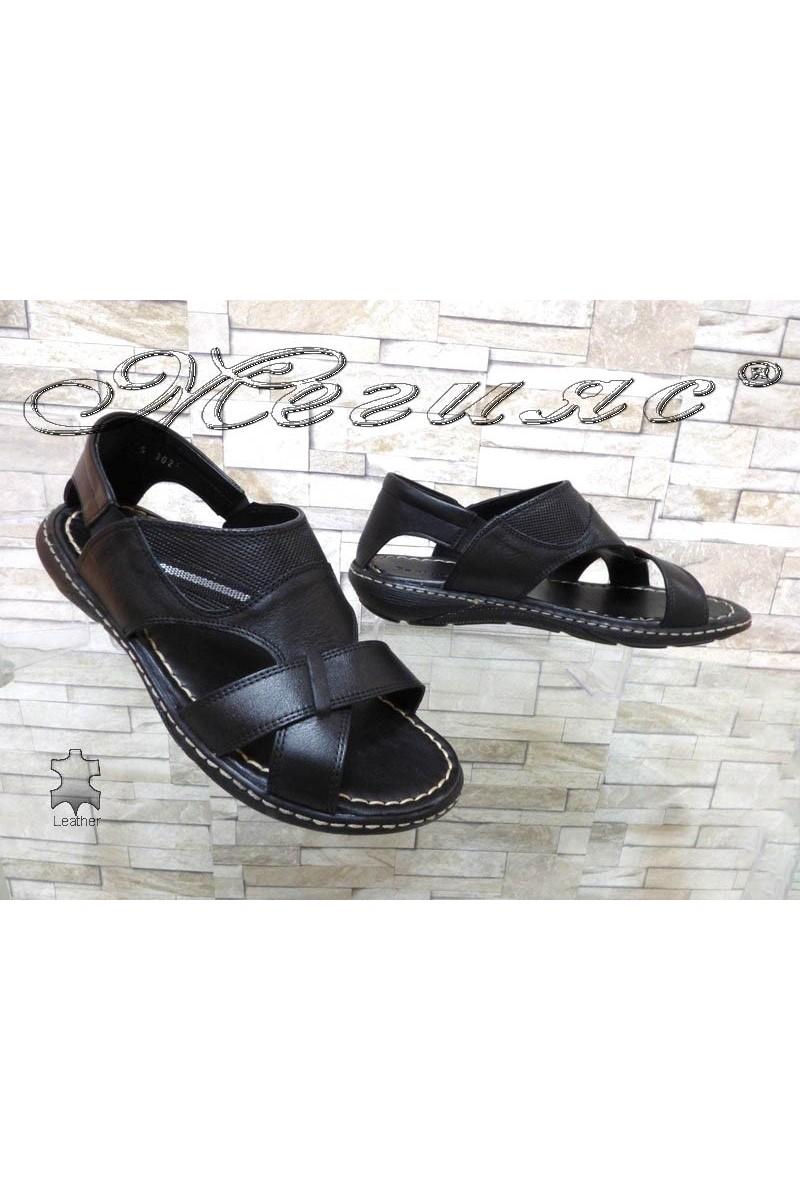 Мъжки сандали Фантазия 302 черни от естествена кожа