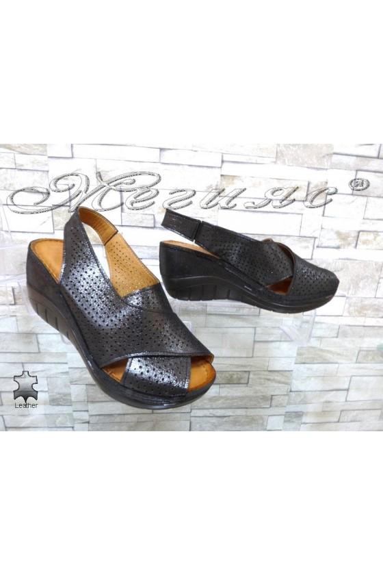 Дамски сандали 17-L графит от естествена кожа на платформа