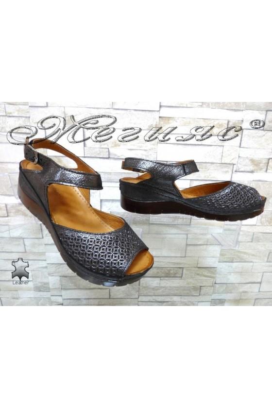 Дамски сандали 10-L графит от естествена кожа на платформа