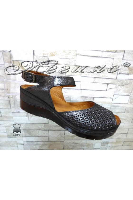 Women platform sandals 10-L dk.silver leather