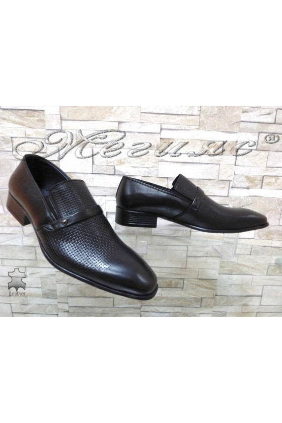 Men shoes 12-3121 black leather