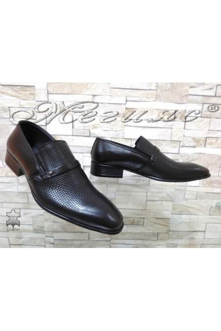Юношески обувки 12-3121 черни естествена кожа