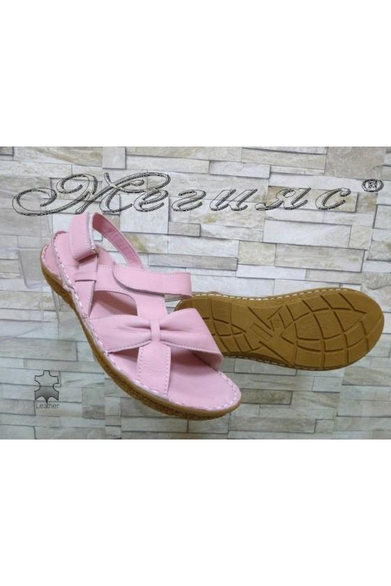 Дамски сандали 335 пудра от естествена кожа