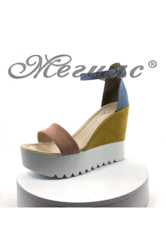 Дамски сандали 100-259-1 синьо+пудра+жълто велур на висока платформа
