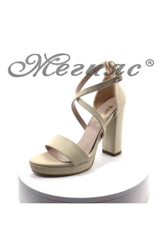 Дамски сандали 393 бежови мат от еко кожа елегантни с широк ток