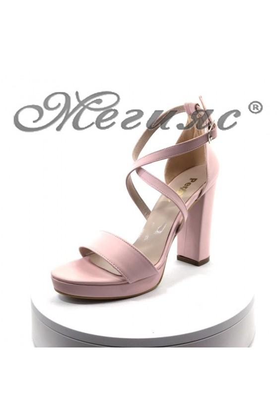 Дамски сандали 393 пудра мат от еко кожа елегантни с широк ток