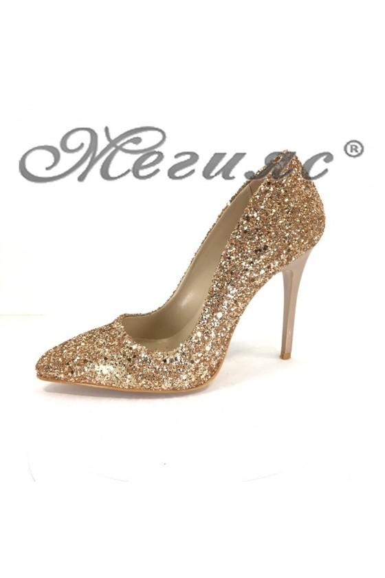 Дамски обувки 5596 брокат бакър елегантни висок ток