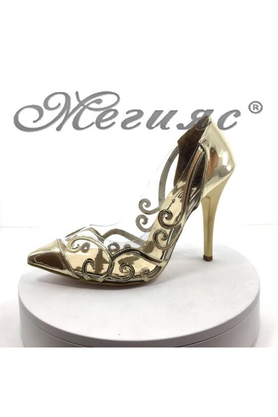 Дамски обувки 756 златисти на висок ток елегантни