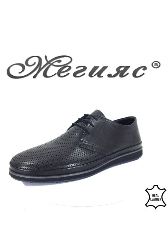 Мъжки обувки 18402-1 черни с перфорация от естествена кожа