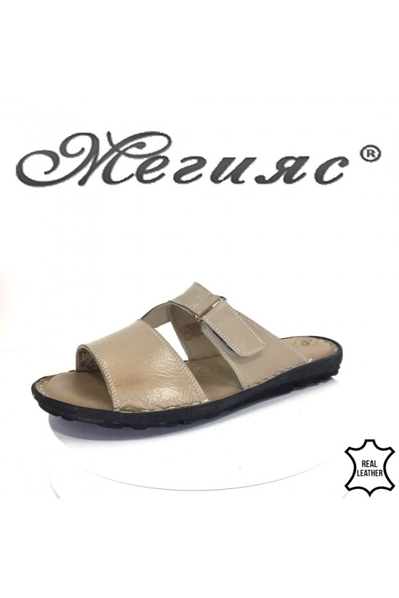 Men's sandals 040 beige leather