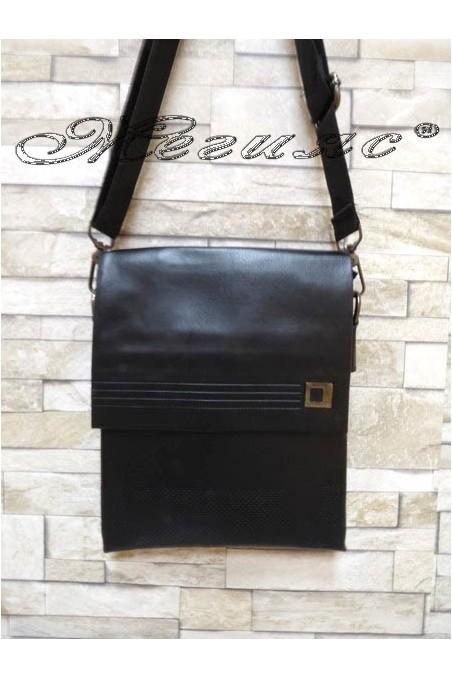 Мъжка чанта 0056-2 черна от еко кожа