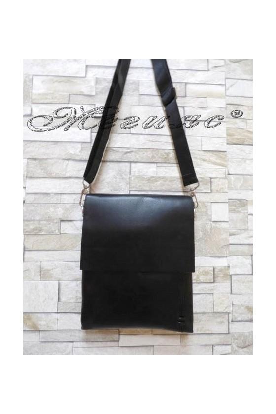 Мъжка чанта 1108-2 черна от еко кожа