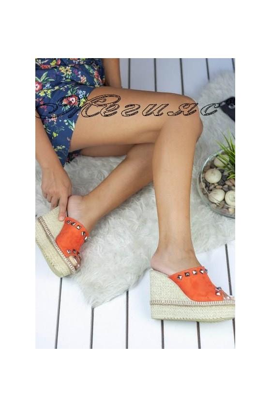 Дамски сандали 499 оранжеви велур на висока платформа