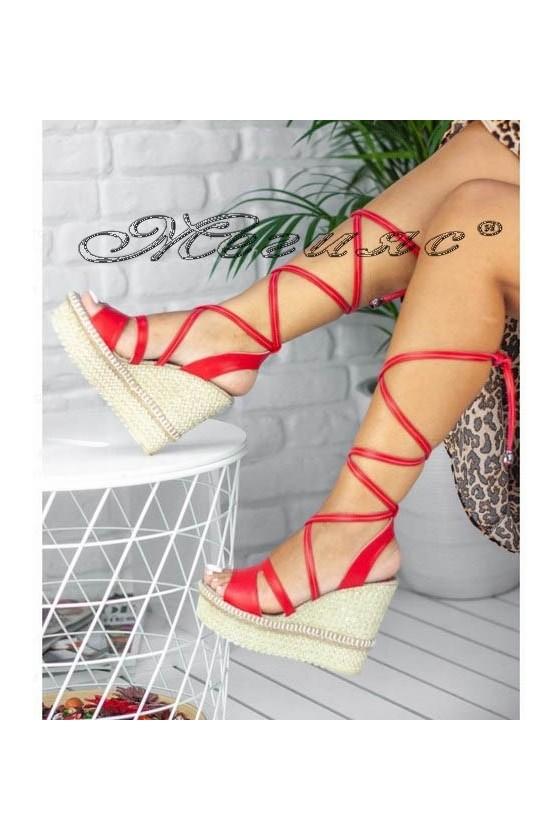 Дамски сандали 500-1 червени на висока платформа