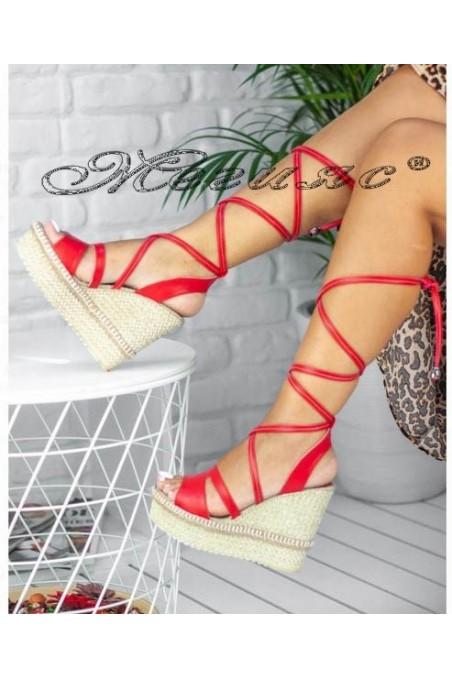 Дамски сандали 18840 червени на висока платформа