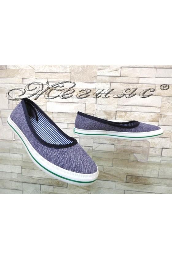Дамски спортни обувки 200 дънкови от текстил