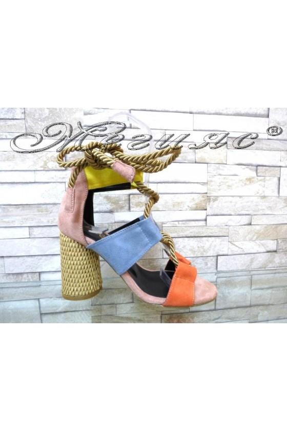 Дамски сандали 7676 жълто+синьо+корал от еко велур на широк ток