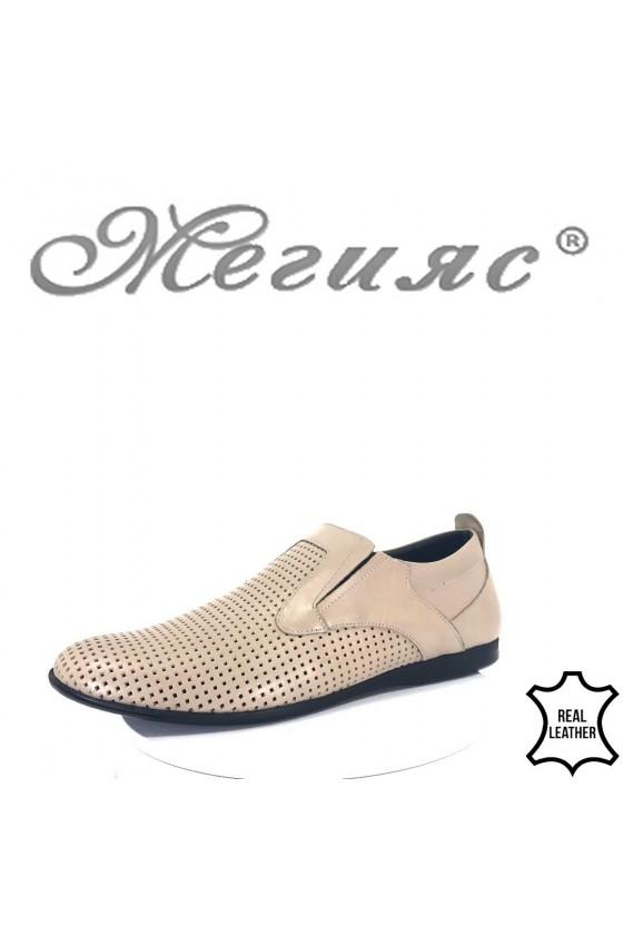 Мъжки обувки XXL 161 гигант набук бежови с перфорация от естествен набук