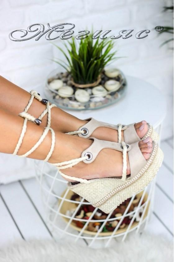 Дамски сандали 18848 велур бежови на висока платформа