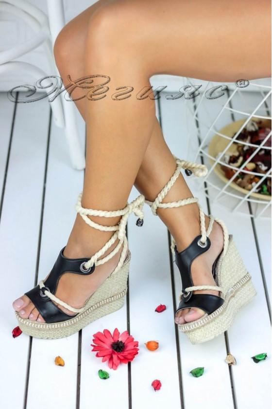 Дамски сандали 18848 черни мат на висока платформа