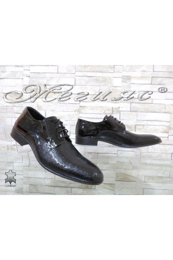 Мъжки обувки Фантазия 18001 черни точки лак елегантни от естествена кожа