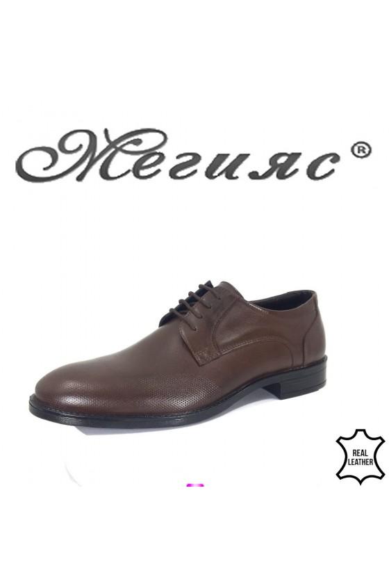 Men's elegant shoes 19000-57 dk. brown leather